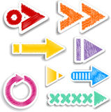 Scribbled arrow designs Stock Image