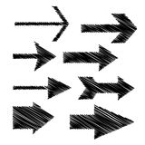 Scribbled arrows. Black scribbled hand-drawn doodle arrows isolated on the white background stock illustration