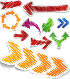 Scribbled color arrows set. Royalty Free Stock Photo