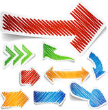 Scribbled color arrows set. Stock Image
