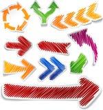 Scribbled color arrows set. stock illustration