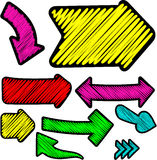 Scribbled color arrows set. Stock Photos