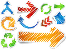 Scribbled color arrows set. Stock Photo