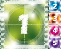 Scribbled countdown design from 5 to 1. With various color backgrounds Stock Photos