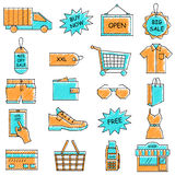 Scribbled e commerce and online shopping icon set Royalty Free Stock Photography