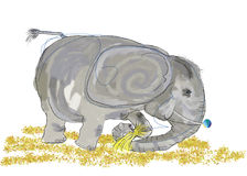 Scribbled elephant Royalty Free Stock Image