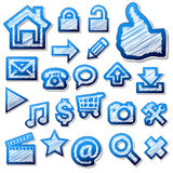 Scribbled grungy blue icons Royalty Free Stock Photo