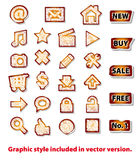 Scribbled grungy red icons Stock Image