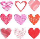 Scribbled hearts Royalty Free Stock Images