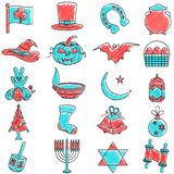 Scribbled Holiday icon set Royalty Free Stock Photos