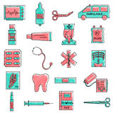 Scribbled Medical icon set Stock Image