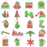 Scribbled Merry Christmas icon set. Vector illustration of set of scribbled Merry Christmas icon against  background Stock Images