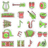 Scribbled music icon set Royalty Free Stock Photo