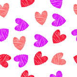 Scribbled red,   hearts seamless pattern Stock Images