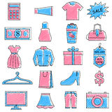 Scribbled shopping icon set Stock Images