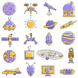 Scribbled Space science icon set Royalty Free Stock Photos