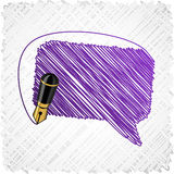 Scribbled speech shape. Stock Photos