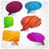 Scribbled speech shapes. Stock Photos