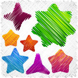 Scribbled stars shapes. Royalty Free Stock Images