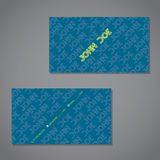 Scribbled text business card in blue with green Stock Photography