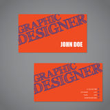 Scribbled text business card in orange blue and white color comb Stock Images