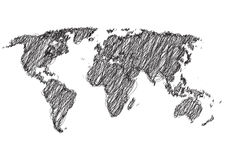 Scribbled world map Royalty Free Stock Photography