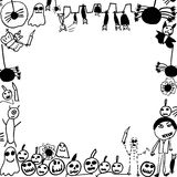 Scribbles of halloween monsters background frame Royalty Free Stock Images
