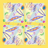 Scribbles and Shapes. Seamless square, scribble and obtuse angle background pattern Stock Images