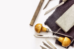 Scribing tools and tools for manual metal engraving. Stock Photos