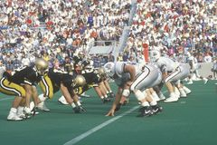 Scrimmage line at college football game Royalty Free Stock Photo