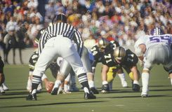 Scrimmage line during West Point Military Academy Football game, West Point, NY Stock Image