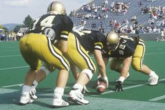 Scrimmage line during West Point Military Academy Football game, West Point, NY Royalty Free Stock Photography