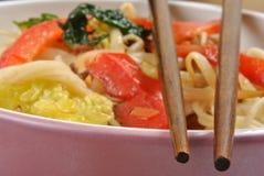 Scrimp egg noodle Stock Photos