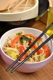 Scrimp egg noodle Royalty Free Stock Photo