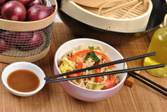 Scrimp egg noodle Stock Photos