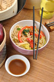 Scrimp egg noodle with stir fry. Scrimp egg noodle with organic stir fry Royalty Free Stock Photo