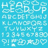 Happy cloud fun doodle alphabet set Stock Photo