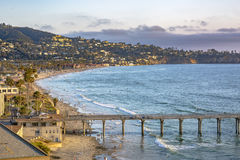 Scripps pier, beach and coastline near the end of the day Stock Photos
