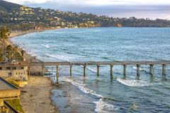 Scripps pier, beach and coastline near the end of the day at gol Stock Photo