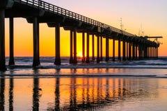 Scripps Pier. In La Jolla, California at sunsuet royalty free stock image