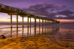 Scripps Pier Sunset Colors La Jolla Shores Beach San Diego California stock photography