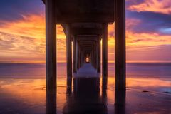 Scripps Pier at sunset Royalty Free Stock Photos