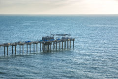 Scripps pier from a telephoto lens with a background of water an Stock Images