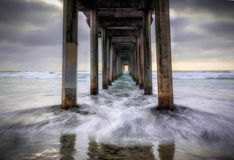 Scripps Pier View During Sunset With Waves From Under, La Jolla San Diego, California Royalty Free Stock Photography