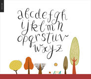 Script alphabet 2. Script alphabet volume 2 - vector illustrated script font on white background with trees and a park bench Royalty Free Stock Photography