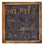 Script alphabet in wood type Stock Photos