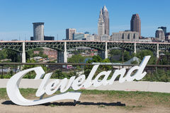 Script Cleveland. Cleveland, USA - August 29, 2016: This 'Script Cleveland' sign was erected near the end of June prior to the Republican National Convention. It royalty free stock photo