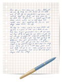 Script on copybook paper and pen Stock Photo