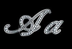 Script Diamond Bling Aa Letters royalty free illustration
