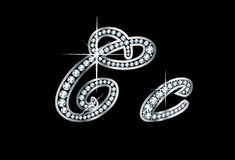 Script Diamond Bling Cc Letters. Stunningly beautiful script C and c set in diamonds and silver Stock Photography